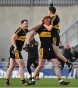 28 October 2018; Daithi Casey, left, Johnny Buckley and Jordan Kiely of Dr. Crokes celebrate at the final whistle of the Kerry County Senior Club Football Championship Final match between Dr Crokes and Dingle at Austin Stack Park in Tralee, Kerry. Photo by Brendan Moran/Sportsfile