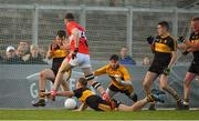 28 October 2018; Fionn Fitzgerald of Dr. Crokes blocks a goalbound shot from Conor Geaney of Dingle during the Kerry County Senior Club Football Championship Final match between Dr Crokes and Dingle at Austin Stack Park in Tralee, Kerry. Photo by Brendan Moran/Sportsfile