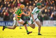 28 October 2018; Eoin Cody of Ballyhale Shamrocks in action against Sean Morrissey of Bennettsbridge during the Kilkenny County Senior Club Hurling Championship Final between Bennettsbridge and Ballyhale Shamrocks at Nowlan Park in Kilkenny. Photo by Stephen McCarthy/Sportsfile