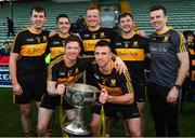 28 October 2018; Dr. Crokes winning captains from their 7 titles since 2000, back from left, Michael Moloney, Brian Looney, Johnny Buckley, Daithi Casey, Ambrose O'Donovan, with front, from left, Kieran O'Leary and John Payne with the Bishop Moynihan cup after the Kerry County Senior Club Football Championship Final match between Dr Crokes and Dingle at Austin Stack Park in Tralee, Kerry. Photo by Brendan Moran/Sportsfile