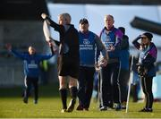 28 October 2018; Kilmacud Crokes manager Anthony Daly questions a decision by the linesman during the Dublin County Senior Club Hurling Championship Final Replay match between Kilmacud Crokes and Ballyboden St Enda's, at Parnell Park, Dublin. Photo by Daire Brennan/Sportsfile