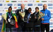 28 October 2018; On the podium following the women's race at the 2018 SSE Airtricity Dublin Marathon are, from left, second placed Motu Gedefa of Ethiopia, Lord Mayor of Dublin Nial Ring, first placed Mesera Dubiso of Ethiopia, Lizzie Lee of Leevale A.C., Co. Cork, and race director Jim Aughney. 20,000 runners took to the Fitzwilliam Square start line today to participate in the 39th running of the SSE Airtricity Dublin Marathon, making it the fifth largest marathon in Europe. Photo by Ramsey Cardy/Sportsfile