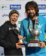 28 October 2018; National Women's Champion, Lizzie Lee of Leevale AC, Co. Cork, and Athletics Ireland National Champion, Mick Clohisey of Raheny Shamrock A.C., Co. Dublin following the 2018 SSE Airtricity Dublin Marathon. 20,000 runners took to the Fitzwilliam Square start line to participate in the 39th running of the SSE Airtricity Dublin Marathon, making it the fifth largest marathon in Europe. Photo by Ramsey Cardy/Sportsfile