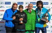 28 October 2018; National Women's Champion, Lizzie Lee of Leevale AC, Co. Cork, and Athletics Ireland National Champion, Mick Clohisey of Raheny Shamrock A.C., Co. Dublin, with race director Jim Aughney and Harry Gorman following the 2018 SSE Airtricity Dublin Marathon. 20,000 runners took to the Fitzwilliam Square start line to participate in the 39th running of the SSE Airtricity Dublin Marathon, making it the fifth largest marathon in Europe. Photo by Ramsey Cardy/Sportsfile