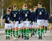 29 October 2018; Republic of Ireland U15 players, from left, Evan Ferguson, Ben Curtis and Aaron O'Reilly prior to the Republic of Ireland U15 and Republic of Ireland U16 match at FAI National Training Centre in Abbotstown, Dublin. Photo by Seb Daly/Sportsfile