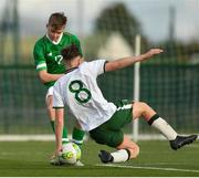 29 October 2018; Evan Ferguson of Republic of Ireland U15 shoots to score his side's first goal, despite the attempts of Kalin Barlow of Republic of Ireland U16, during the Republic of Ireland U15 and Republic of Ireland U16 match at FAI National Training Centre in Abbotstown, Dublin. Photo by Seb Daly/Sportsfile
