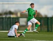 29 October 2018; Evan Ferguson of Republic of Ireland U15 reacts after scoring his side's first goal during the Republic of Ireland U15 and Republic of Ireland U16 match at FAI National Training Centre in Abbotstown, Dublin. Photo by Seb Daly/Sportsfile