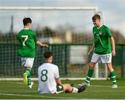 29 October 2018; Evan Ferguson of Republic of Ireland U15, right, celebrates with team-mate Ben Quinn after scoring his side's first goal during the Republic of Ireland U15 and Republic of Ireland U16 match at FAI National Training Centre in Abbotstown, Dublin. Photo by Seb Daly/Sportsfile