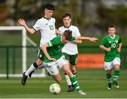 29 October 2018; Evan Ferguson of Republic of Ireland U15 in action against Kian Corbally of Republic of Ireland U16 during the Republic of Ireland U15 and Republic of Ireland U16 match at FAI National Training Centre in Abbotstown, Dublin. Photo by Seb Daly/Sportsfile