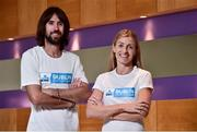 30 October 2018; Irish Olympic Marathon runners Lizzie Lee and Mick Clohessy, pictured at the announcement of KBC Bank Ireland as title sponsor of the Dublin Marathon. KBC will join forces with Europe's fifth biggest marathon for a three-year tenure including the iconic national race's 40th year. Sign up at www.kbcdublinmarathon.ie Photo by Matt Browne/Sportsfile
