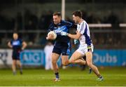 29 October 2018; Rónán Joyce of St Jude's in action against Andrew McGowan of Kilmacud Crokes during the Dublin County Senior Club Football Championship Final match between St Jude's and Kilmacud Crokes at Parnell Park in Dublin. Photo by Daire Brennan/Sportsfile