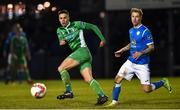 29 October 2018; Cian Coleman of Limerick in action against Jesse Devers of Finn Harps during the SSE Airtricity League Promotion / Relegation Play-off Final 1st leg match between Finn Harps and Limerick FC at Finn Park in Ballybofey Donegal. Photo by Oliver McVeigh/Sportsfile