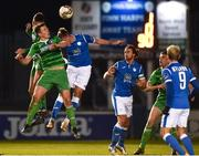29 October 2018; Danny Morrissey and Killian Brouder of Limerick in action against Keith Cowan of Finn Harps  during the SSE Airtricity League Promotion / Relegation Play-off Final 1st leg match between Finn Harps and Limerick FC at Finn Park in Ballybofey Donegal. Photo by Oliver McVeigh/Sportsfile
