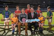 30 October 2018; Uachtarán Chumann Lúthchleas Gael Seán Ó hÓráin, le iománaí Átha Cliath Liam Ó Luachra, ag lainseáil Seoladh na nGaeilge #GAAGaeilge. In attendance at the Seoladh na Gaeilge launch #GAAGaeilge are, Uachtarán Cumann Lúthchleas Gael John Horan and Liam Rushe of Dublin, with, from left, Ruairí Ó hAiniféin of Lios Póil, Caragh Ní Chorcoráin of Na Finna, Jack Ó Cinnéide, Senan Ryan and Tiernan O'Brien of Clontarf, Riona Ni Chorcoráin of Na Fianna and Iarla Ó hAinifein of Lios Póilat at Croke Park in Dublin. Photo by Sam Barnes/Sportsfile