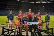 30 October 2018; Uachtarán Chumann Lúthchleas Gael Seán Ó hÓráin, le iománaí Átha Cliath Liam Ó Luachra, ag lainseáil Seoladh na nGaeilge #GAAGaeilge. In attendance at the Seoladh na Gaeilge launch #GAAGaeilge are, Uachtarán Cumann Lúthchleas Gael John Horan and Liam Rushe of Dublin, with, from left, Ruairí Ó hAiniféin of Lios Póil, Caragh Ní Chorcoráin of Na Fianna, Jack Ó Cinnéide, Senan Ryan and Tiernan O'Brien of Clontarf, Riona Ni Chorcoráin of Na Fianna and Iarla Ó hAinifein of Lios Póilat at Croke Park in Dublin. Photo by Sam Barnes/Sportsfile