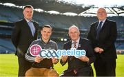 30 October 2018; Uachtarán Chumann Lúthchleas Gael Seán Ó hÓráin, le iománaí Átha Cliath Liam Ó Luachra, ag lainseáil Seoladh na nGaeilge #GAAGaeilge. In attendance at the Seoladh na Gaeilge launch #GAAGaeilge are, from left, Jamie  Ó Tauma, Liam Rushe of Dublin Uachtarán Cumann Lúthchleas Gael John Horan and Seosamh Mac Donncha, at Croke Park in Dublin. Photo by Sam Barnes/Sportsfile