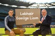 30 October 2018; Uachtarán Chumann Lúthchleas Gael Seán Ó hÓráin, le iománaí Átha Cliath Liam Ó Luachra, ag lainseáil Seoladh na nGaeilge #GAAGaeilge. In attendance at the Seoladh na Gaeilge launch #GAAGaeilge are, Uachtarán Cumann Lúthchleas Gael John Horan, right, and Liam Rushe of Dublin at Croke Park in Dublin. Photo by Sam Barnes/Sportsfile