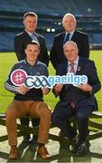 30 October 2018; Uachtarán Chumann Lúthchleas Gael Seán Ó hÓráin, le iománaí Átha Cliath Liam Ó Luachra, ag lainseáil Seoladh na nGaeilge #GAAGaeilge. In attendance at the Seoladh na Gaeilge launch #GAAGaeilge are, backrow from left, Jamie Ó Tauma and Seosamh Mac Donncha, front row from left, Liam Rushe of Dublin and Uachtarán Cumann Lúthchleas Gael John Horan at Croke Park in Dublin. Photo by Sam Barnes/Sportsfile