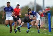 31 October 2018; Sean Wall of Metropolitan Area is tackled by Ryan Walsh of North East Area during the U16s 2nd Round Shane Horgan Cup match between North East Area and Metropolitan Area at Ashbourne RFC in Ashbourne, Co Meath. Photo by Piaras Ó Mídheach/Sportsfile