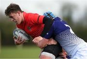 31 October 2018; Dylan Lynch of North East Area is tackled by John Ascough, front, and Ronan Patterson of Metropolitan Area during the U18s 2nd Round Shane Horgan Cup match between North East Area and Metropolitan Area at Ashbourne RFC in Ashbourne, Co Meath. Photo by Piaras Ó Mídheach/Sportsfile