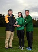 31 October 2018; Niamh Farrelly of Peamount United being presented with the Continental Tyres WNL Player of the Month Award for September by Eddie Ryan, Marketing Director at Continental, and Republic of Ireland women's manager Colin Bell at the FAI HQ in Abbotstown, Co Dublin. Photo by Eóin Noonan/Sportsfile