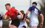 31 October 2018; Dara Maher of North East Area in action against Sean Walsh and Patrick Kiernan of Metropolitan Area, right, during the U18s 2nd Round Shane Horgan Cup match between North East Area and Metropolitan Area at Ashbourne RFC in Ashbourne, Co Meath. Photo by Piaras Ó Mídheach/Sportsfile