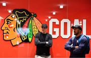 31 October 2018; Garry Ringrose, left, and Bundee Aki of Ireland during a visit to the MB Ice Arena, practice home of the Chicago Blackhawks, in Chicago, USA. Photo by Brendan Moran/Sportsfile