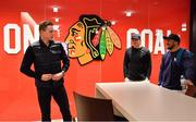 31 October 2018; Garry Ringrose, centre, and Bundee Aki of Ireland meet Chicago Blackhawk hockey player Connor Murphy during a visit to the MB Ice Arena, practice home of the Chicago Blackhawks, in Chicago, USA. Photo by Brendan Moran/Sportsfile