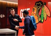 31 October 2018; Chicago Blackhawk hockey player Connor Murphy greets Bundee Aki of Ireland during a visit to the MB Ice Arena, practice home of the Chicago Blackhawks, in Chicago, USA. Photo by Brendan Moran/Sportsfile