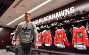 31 October 2018; Josh van der Flier of Ireland in the dressing rooms during a visit to the MB Ice Arena, practice home of the Chicago Blackhawks, in Chicago, USA. Photo by Brendan Moran/Sportsfile