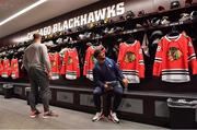 31 October 2018; Josh van der Flier, left, and Bundee Aki of Ireland in the dressing rooms during a visit to the MB Ice Arena, practice home of the Chicago Blackhawks, in Chicago, USA. Photo by Brendan Moran/Sportsfile