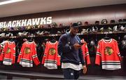 31 October 2018; Bundee Aki of Ireland in the dressing rooms during a visit to the MB Ice Arena, practice home of the Chicago Blackhawks, in Chicago, USA. Photo by Brendan Moran/Sportsfile