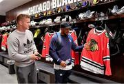 31 October 2018; Josh van der Flier, left, and Bundee Aki in the dressing rooms during a visit to the MB Ice Arena, practice home of the Chicago Blackhawks, in Chicago, USA. Photo by Brendan Moran/Sportsfile