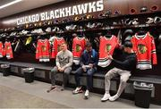 31 October 2018; Josh van der Flier, left, Bundee Aki, centre, and Garry Ringrose of Ireland in the dressing rooms during a visit to the MB Ice Arena, practice home of the Chicago Blackhawks, in Chicago, USA. Photo by Brendan Moran/Sportsfile