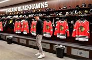31 October 2018; Garry Ringrose of Ireland in the dressing rooms during a visit to the MB Ice Arena, practice home of the Chicago Blackhawks, in Chicago, USA. Photo by Brendan Moran/Sportsfile