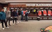 31 October 2018; Members of the Ireland rugby squad, from left, high performance coach Vinny Hammond, Josh van der Flier, Bundee Aki, Garry Ringrose and video analyst Mervyn Murphy in the dressing rooms during a visit to the MB Ice Arena, practice home of the Chicago Blackhawks, in Chicago, USA. Photo by Brendan Moran/Sportsfile