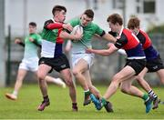 31 October 2018; Jack Hanlon of South East Area is tackled by Dylan McDermott, left, and Conor Gibney of Midlands Area during the U18s 2nd Round Shane Horgan Cup match between South East Area and Midlands Area at IT Carlow in Carlow. Photo by Matt Browne/Sportsfile
