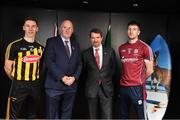 1 November 2018; Cillian Buckley of Kilkenny, Uachtarán Chumann Lúthchleas Gael John Horan, second from left, Australian Ambassador to Ireland Richard Andrews and Pádraic Mannion of Galway in attendance at an event to mark the departure of the Kilkenny and Galway teams, who fly to Australia to take part in a match for the Wild Geese Trophy as part of the Sydney Irish Fest on November 10/11, at the Australian Embassy in Dublin. Photo by Harry Murphy/Sportsfile