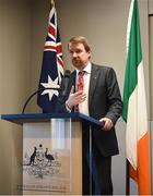 1 November 2018; Australian Ambassador to Ireland Richard Andrews speaks at an event to mark the departure of the Kilkenny and Galway teams, who fly to Australia to take part in a match for the Wild Geese Trophy as part of the Sydney Irish Fest on November 10/11, at the Australian Embassy in Dublin. Photo by Harry Murphy/Sportsfile
