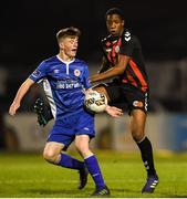 1 November 2018; Ben McCormack of St. Patrick's Athletic in action against Bosin Lawal of Bohemians during the SSE Airtricity U15 League Final match between Bohemians and St. Patrick's Athletic at Dalymount Park in Dublin. Photo by Harry Murphy/Sportsfile