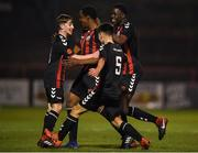 1 November 2018; Aaron Doran of Bohemians celebrates after scoring his side's first goal with teammates during the SSE Airtricity U15 League Final match between Bohemians and St. Patrick's Athletic at Dalymount Park in Dublin. Photo by Harry Murphy/Sportsfile