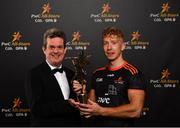 2 November 2018; Feargal O'Rourke, Managing Partner, PwC, with PwC hurler of the year Cian Lynch at the PwC All Stars 2018 at the Convention Centre in Dublin. Photo by Ramsey Cardy/Sportsfile