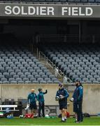 2 November 2018; Head coach Joe Schmidt, left, with defence coach Andy Farrell during the Ireland rugby captain's run at Soldier Field in Chicago, USA. Photo by Brendan Moran/Sportsfile