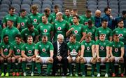 2 November 2018; President of IRFU Ian McIlrath in conversation with team captain Rhys Ruddock as they all wait to have their team photograph taken during the Ireland rugby captain's run at Soldier Field in Chicago, USA. Photo by Brendan Moran/Sportsfile