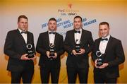 2 November 2018; Westmeath hurlers, from left, Paul Greville, Derek McNicholas, Patrick Carroll and Eoin Price with their Joe McDonagh Champion 15 Awards during the PwC All-Stars 2018 awards at the Convention Centre in Dublin. Photo by Eóin Noonan/Sportsfile