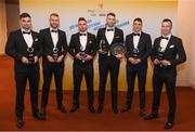 2 November 2018; Carlow hurlers, from left, Brian Tracey, Paul Doyle, Chris Nolan, Edward Byrne, James Doyle and David English with their Joe McDonagh Champion 15 Awards during the PwC All-Stars 2018 awards at the Convention Centre in Dublin. Photo by Eóin Noonan/Sportsfile