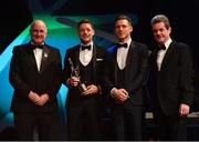 2 November 2018; Monaghan footballer Conor McManus is presented with his PwC All Star award by, from left, Uachtarán Chumann Lúthchleas Gael John Horan, GPA CEO Paul Flynn, and CEO of PwC Ireland Feargal O'Rourke during the PwC All Stars 2018 at the Convention Centre in Dublin. Photo by Ramsey Cardy/Sportsfile