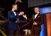 2 November 2018; Dublin footballers Brian Fenton, left, and Brian Howard with their PwC All Star awards during the PwC All Stars 2018 at the Convention Centre in Dublin. Photo by Ramsey Cardy/Sportsfile