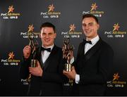 2 November 2018; Clare hurlers John Conlon, left, and Peter Duggan with their All-Star awards at the PwC All Stars 2018 at the Convention Centre in Dublin. Photo by Sam Barnes/Sportsfile