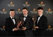 2 November 2018; Cork hurlers, left to right, Pat Horgan, Séamus Harnedy, and Darragh Fitzgibbon with their All-Star awards at the PwC All Stars 2018 at the Convention Centre in Dublin. Photo by Sam Barnes/Sportsfile
